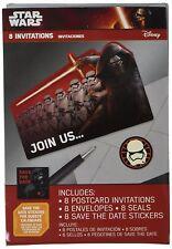 Amscan Star Wars Force Awakens Episode Vll Postcard Invitations, Multicolor 8pcs