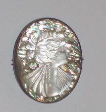 VINTAGE SILVER CAMEO ABLONE MOTHER OF PEARL ITALY