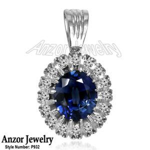 14k Rose and White Gold 10ct lab Created Sapphire genuine Diamond Pendant #P932