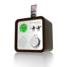 Original Bergmann popcube Radio Uhr Wecker MP3 Direkt Dock Box Retro Design Holz