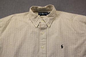 Ralph Lauren Polo Blake Mens Beige Checker Brown Pony Emblem Button Shirt  XL