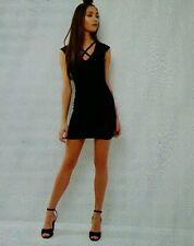 Lovely ladies size 14 black velvet cross strap mini dress 'New Look' NEW bnwt