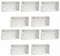 10 x White Plastic Double Surface Patress Boxes 2 Gang for Electric Sockets