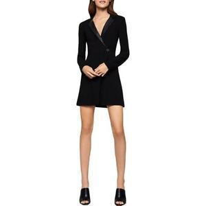BCBGeneration Womens Black Wrap Blazer Faux Leather Trim Party Dress 4 BHFO 9864