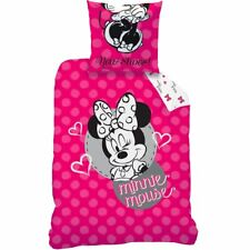 Linge De Lit Set Disney Minnie Souris 135x200 80x80 linon Minnie Mouse Rose NEUF