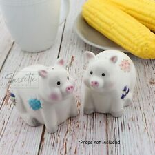 White Pig Salt & Pepper Shakers Set Cute Patchwork Pig Collectible Salt Shakers