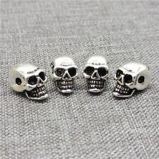 4pcs of 925 Sterling Silver Skull Beads Punk Skeleton Spacers