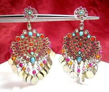 R.J. GRAZIANO CN GOLD TONE MULTI COLOR STONES CHANDELIER DANGLING EARRINGS