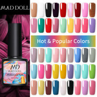 MAD DOLL Gel Nail Polish Semi Permanent UV Gel Color Top Base Coat Varnish 8ml