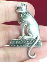 Vintage Sterling Marcasite & Ruby Cat Brooch Pin