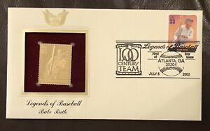 2000 Babe Ruth Gold Golden Replica Cover Legends of Baseball FDC STAMP