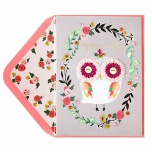 Beautiful Papyrus Birthday Card Femme Owl with Glitter, Gems, Flowers, Embossed