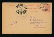 EGYPT to CZECHOSLOVAKIA PRAG AUSTRIA POSTAL STATIONERY CARD 1914