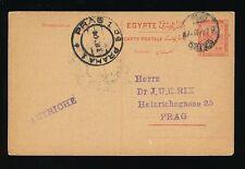 EGYPT to CZECHOSLOVAKIA PRAG AUSTRIA POSTAL STATIONERY CARD 1914