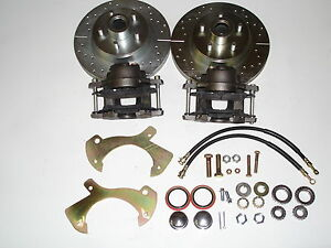 1958 1959 1960 Ford front disc brake conversion drilled and slotted rotors 11""