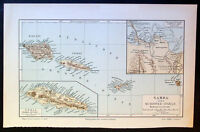 1890 Meyer Antique lithograph Map of the Islands of Samoa