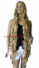 """47"""" Long Gold Blonde Spiral Wavy Cosplay Party Hair Wig"""