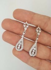 RUSSIAN STYLE 14K 583 ROSE & WHITE GOLD TWO TONE HANGING DROP DIAMOND EARRINGS