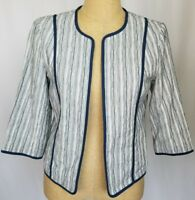 Coldwater Creek Blue White Open Front Lined Blazer Jacket Small 3/4 Sleeve