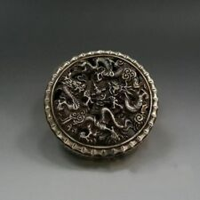 Marked China Silver Carving Dragon Hollow Incense Burner Incensory Collection