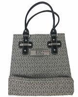"Guess Logo Tote Travel Bag Purse Handles Black Handbag 11.5"" X 11"""