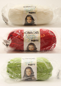 NEW Caron Simply Soft Party Metallic Sparkle Acrylic Yarn 85 g (Choose color)