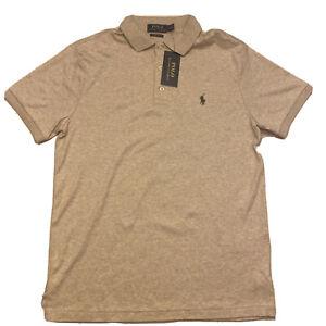 Polo Ralph Lauren Soft Touch Polo Shirt Custom Slim Fit NWT Sz Medium Tan $98