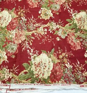 Waverly Ballad Bouquet in Crimson Floral Fabric Upholstery 56 x 63 NEW off bolt