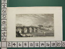 1831 PUGIN PRINT ~ PONT DE BOIS CHOISI-LE-ROI KING SELECTED WOODEN BRIDGE