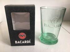 Bacardi Rum Glass Green Bacardi Bat Embossed Base Gift Boxed New