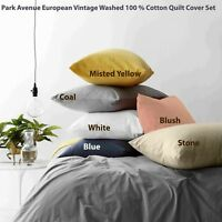 Park Avenue European Vintage Washed 100 % Quilt Cover Set 6-Colour Options