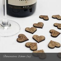 Personalised Wedding Table Confetti, Rustic Hardwood Heart Decorations, Favours.