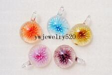 Wholesale Lots 12Pcs Round Flower 3D Murano Glass Pendant Fit Necklace FREE