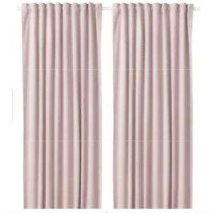 "Ikea SANELA Velvet Curtains 55x98"" Room Darkening Light Pink 1 Pair NEW!"