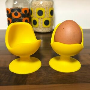 Pair of Quirky Yellow Retro Silicone Egg Cup Chairs w Suction Base