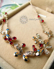 Simulated Ruby Diamond Butterflies Pendant Necklace/RN004G