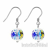 925 Silver Aurora Ball Made with Swarovski Crystals Drop Dangle Earrings Fashion