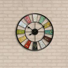 """Kaleidoscope 24"""" Round Wall Mount Clock Indoor/Outdoor Home Living Room Decor"""