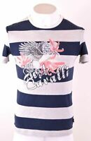 JUST CAVALLI Mens Graphic T-Shirt Top Small Grey Striped Cotton  EW15
