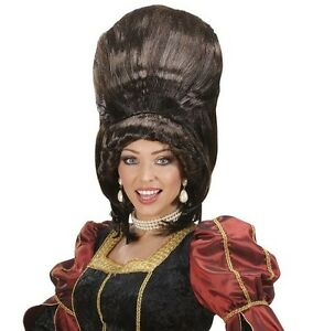 Ladies Baroness Madam Bovary Brown Wig Tall Panto Dame Burlesque Fancy Dress