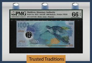 TT PK 31a 2015 / AH1436 MALDIVES 1000 RUFIYAA TURTLE & WHALE PMG 66 EPQ GEM UNC!