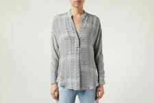 $325 NWOT VINCE BLACK/WHITE GEOMETRIC SILK LONG SLEEVE BLOUSE sz S