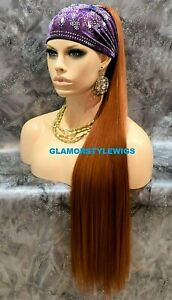 Human Hair Blend Long Brownish Light Auburn Ponytail Hair Piece Extensions #27