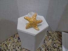 Swarovski Swan Signed Nautical Gold Tone Crystal Starfish Sea Star Pin Brooch