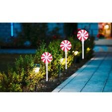 2Pcs Lollipop Pathway Solar Light Color Changing Lamp Christmas Garden Decor