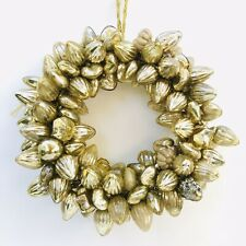 Vintage Gold Wreath Made of German Antique Miniature Kugel Glass Xmas Ornaments