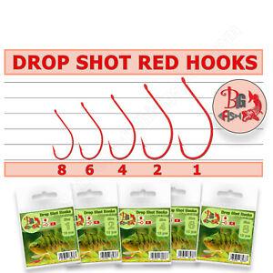 Drop Shot Hooks Red Soft Bait Rigs Lures Kit Maruseigo
