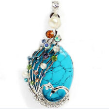 Holiday Jewelry Peacock Blue Turquoise Gemstone Silver Necklace Pendants