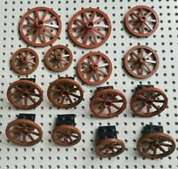 16x Lego Wagon Wheels, 3 sizes from Castles Series Brown Vintage