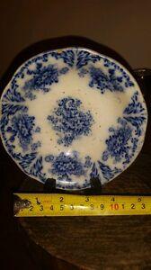 Ancient antique 16th century blue cobalt french porcelain pottery bowl